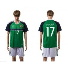 European Cup 2016 Northern Ireland home 17 McNair green soccer jerseys