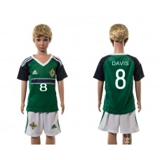 European Cup 2016 Northern Ireland home 8 Davis green kids soccer jerseys