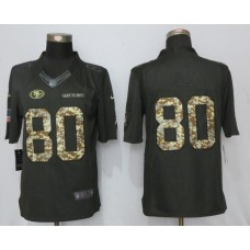 2017 Men San Francisco 49ers 80 Rice Anthracite Salute To Service Green New Nike Limited NFL Jersey