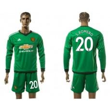 Men 2017-2018 club Manchester United long sleeve goalkeeper 20 S ROMERO Soccer jersey