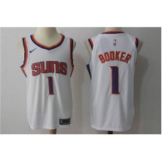 2017 Men Phoenix Suns 1 Booker Nike White NBA Jerseys