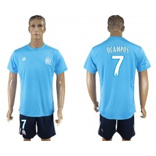 Men 2017-2018 club Marseille away 7 blue soccer jersey