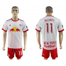 Men 2017-2018 club Red Bulls home 11 white soccer jersey