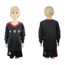 2018 World Cup Germany black goalkeeper Long sleeve kids blank soccer jersey