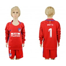 2017-2018 club Atletico Madrid red goalkeeper Long sleeve kids 1 soccer jerseys