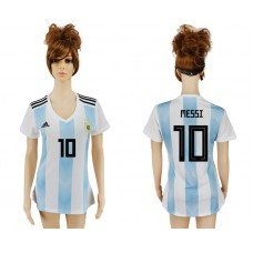 2018 World Cup Argentina home aaa version women 10 soccer jersey