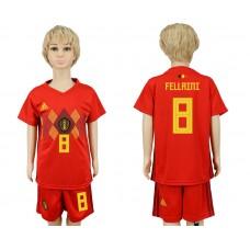 2018 World Cup Belgium home kids 8 red soccer jersey