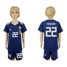 2018 World Cup Japan home kids 22 blue soccer jersey
