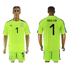 Men 2018 World Cup National Uruguay fluorescent green goalkeeper 1 soccer jersey