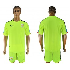 Men 2018 World Cup National Uruguay fluorescent green goalkeeper soccer jersey