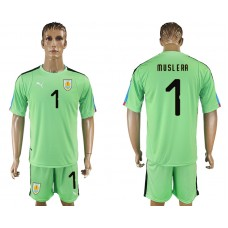 Men 2018 World Cup National Uruguay green goalkeeper 1 soccer jersey