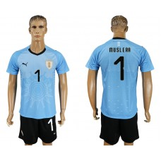 Men 2018 World Cup National Uruguay home 1 blue soccer jersey
