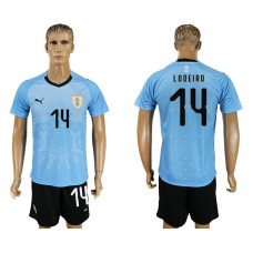 Men 2018 World Cup National Uruguay home 14 blue soccer jersey