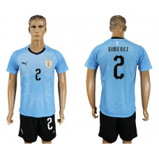 Men 2018 World Cup National Uruguay home 2 blue soccer jersey