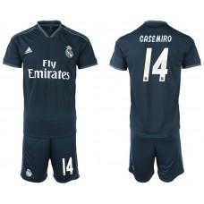 Men 2018-2019 club Real Madrid away 14 blue soccer jerseys