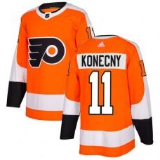 Adidas Men Philadelphia Flyers 11 Travis Konecny Orange Home Authentic Stitched NHL Jersey