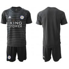 Men 2018-2019 club Leicester City black goalkeeper soccer jersey
