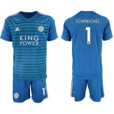 Men 2018-2019 club Leicester City blue goalkeeper 1 soccer jersey