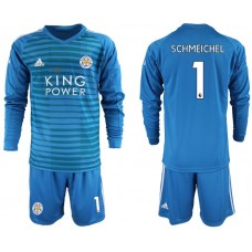 Men 2018-2019 club Leicester City blue goalkeeper Long sleeve 1 Soccer Jerseys