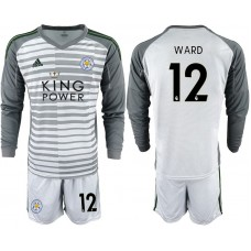 Men 2018-2019 club Leicester City gray long sleeve goalkeeper 12 Soccer Jerseys