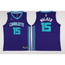 Men Charlotte Hornets 15 Kemba Walker Purple Swingman Edition NBA Jersey