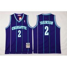 Men Charlotte Hornets 2 Larry Johnson Purple Throwback Stitched NBA Jersey