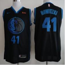 Men Dallas Mavericks 41 Nowitzki Black City Edition Game Nike NBA Jerseys