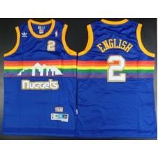 Men Denver Nuggets 2 English Blue Throwback Adidas NBA Jerseys