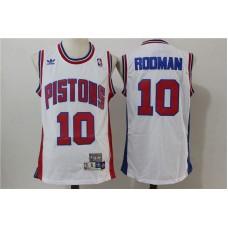 Men Detroit Pistons 10 Rodman White Throwback Stitched NBA Jersey
