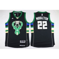 Men Milwaukee Bucks 22 Middleton Black Adidas NBA Jersey