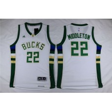 Men Milwaukee Bucks 22 Middleton White Adidas NBA Jersey