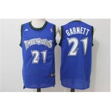 Men Minnesota Timberwolves 21 Garnett Blue Adidas NBA Jerseys