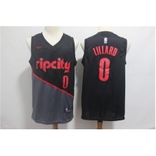 Men Portland Trail Blazers 0 Lillard Black City Edition Game Nike NBA Jerseys