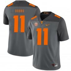 Men Tennessee Volunteers 11 Dobbs Grey Customized NCAA Jerseys