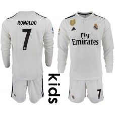 2018_2019 Club Real Madrid home long sleeve Youth 7 soccer jerseys