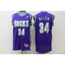 Men Milwaukee Bucks 34 Allen Purple Trowback Swingman NBA Jersey