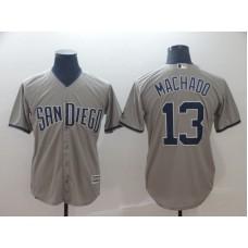 2019 MLB Men San Diego Padres 13 Machado grey game Jerseys