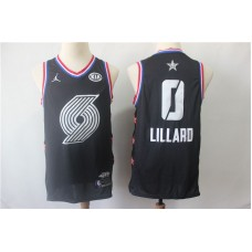 Men Portland Trail Blazers 0 Lillard Black 2019 All Star NBA Jerseys