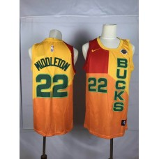 Men Milwaukee Bucks 22 Middleton yellow Nike NBA Jersey