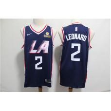 Men Los Angeles Clippers 2 Leonard Blue City Edition Game Nike NBA Jerseys