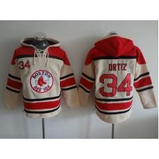 2016 MLB Boston Red Sox 34 Ortiz Cream Lace Up Pullover Hooded Sweatshirt