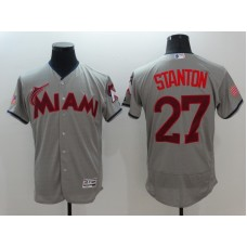 2016 MLB FLEXBASE Miami Marlins 27 Stanton Grey1 Fashion Jerseys