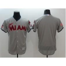 2016 MLB FLEXBASE Miami Marlins Blank Grey1 Fashion Jerseys