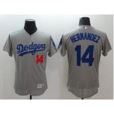 2016 MLB Los Angeles Dodgers 14 Hernandez Grey Elite Fashion Jerseys