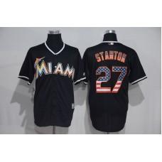 2016 MLB Miami Marlins 27 Stanton Black USA Flag Fashion Jerseys