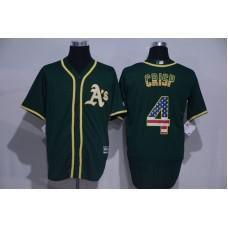 2016 MLB Oakland Athletics 4 Grisp Green USA Flag Fashion Jerseys
