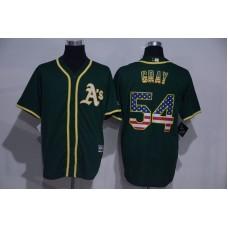 2016 MLB Oakland Athletics 54 Gray Green USA Flag Fashion Jerseys