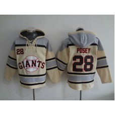 2016 MLB San Francisco Giants 28 Posey cream Lace Up Pullover Hooded Sweatshirt