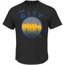 2016 NBA Golden State Warriors Majestic Reflective Skyline Tee - Black
