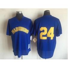 2017 MLB Seattle Mariners 24 Ken Griffey Blue Throwback Jerseys